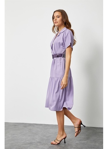 Setre Güneş Turuncusu Modal Rayon Düğme Detaylı Diz Altı Elbise Lila
